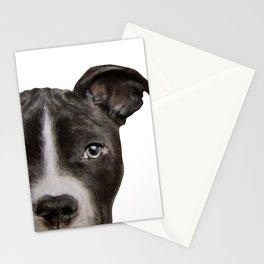Pitbull Dark brown Dog illustration original painting print Stationery Cards