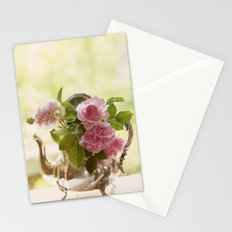 Pink English Roses in a silver Pot- Vintage Rose Stilllife Photography Stationery Cards
