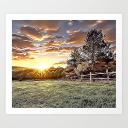 Sunshine Farm Airbrush Artwork Art Print