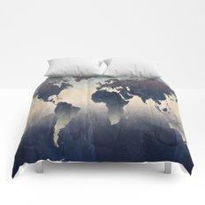 World Map Gray Comforters