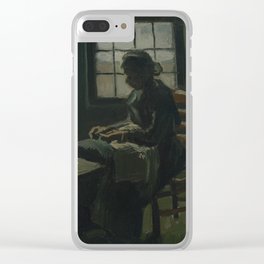 Woman Sewing Clear iPhone Case