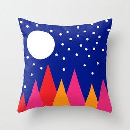 Moonlit Christmas Trees Throw Pillow