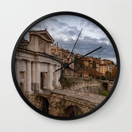 Side view of Porta San Giacomo and the walls of the upper city of Bergamo Wall Clock