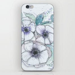 Anemone bouquet illustration watercolor and black ink painting iPhone Skin