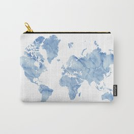 """Blue watercolor world map with outlined countries, """"Vance"""" Carry-All Pouch"""