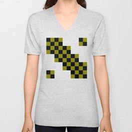 Black and mustard squares Unisex V-Neck