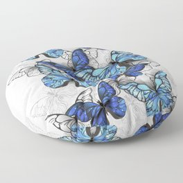 Composition of White and Blue Butterflies Floor Pillow