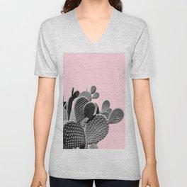 Bunny Ears Cactus on Pastel Pink #cactuslove #tropicalart Unisex V-Neck