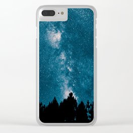 Blue Milky Way At Night Pine Tree Silhouette Stars Night Time Clear iPhone Case