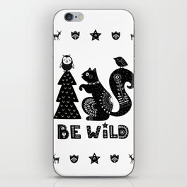 Be Wild Cute Owl And Squirrel In Scandinavian Style iPhone Skin