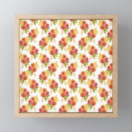 Fall Dahlia - Orange and Yellow Framed Mini Art Print