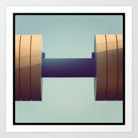 gym Art Prints featuring gym by Le Blanc