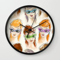women Wall Clocks featuring Women by Helene Michau