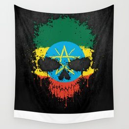 Flag of Ethiopia on a Chaotic Splatter Skull Wall Tapestry