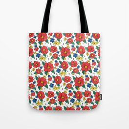 Red Vinage Flowers Tote Bag