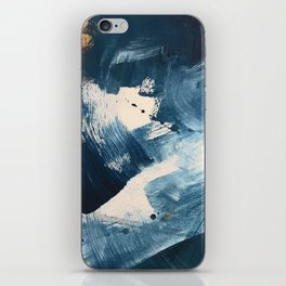 Against the Current: A bold, minimal abstract acrylic piece in blue, white and gold iPhone Skin