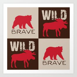 Rustic Woodland Bear and Moose Red Brown Art Print