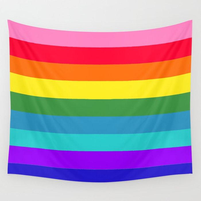 Vibrant Rainbow Stripes Wall Tapestry