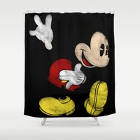 mickey Shower Curtains featuring DISNEY MICKEY MOUSE: DARK MICKEY by DrakenStuff+