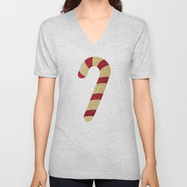 Red And Gold Glitter Candy Cane Unisex V-Neck