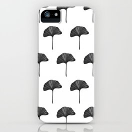 Black Ginko Leaf - Minimalist Nature iPhone Case