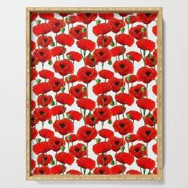 Red Poppy Pattern Serving Tray