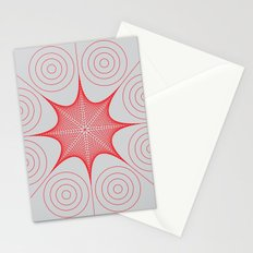 Red Stretched Star with Circles Stationery Cards