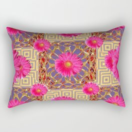 Fuchsia Gerbera Flowers & Grey Patterns Rectangular Pillow
