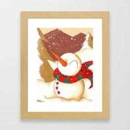 Mountainside Snowfall Framed Art Print
