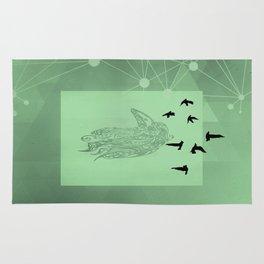 Tribal Raven: Green Rug