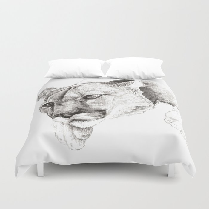 Sketch Of A Captived Mountain Lion Duvet Cover