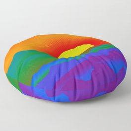 Gay Pride Rainbow Sunrise Landscape Design Floor Pillow