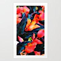 Red Flowers, Black Leaves #1 Art Print