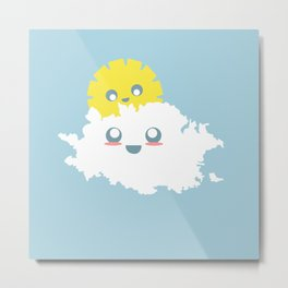 Sun and Cloud Friends Metal Print