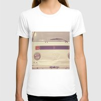 volkswagon T-shirts featuring WV Combi Bus Volkswagon Vintage Car (Retro Cream an Violet Van)  by Caroline Mint