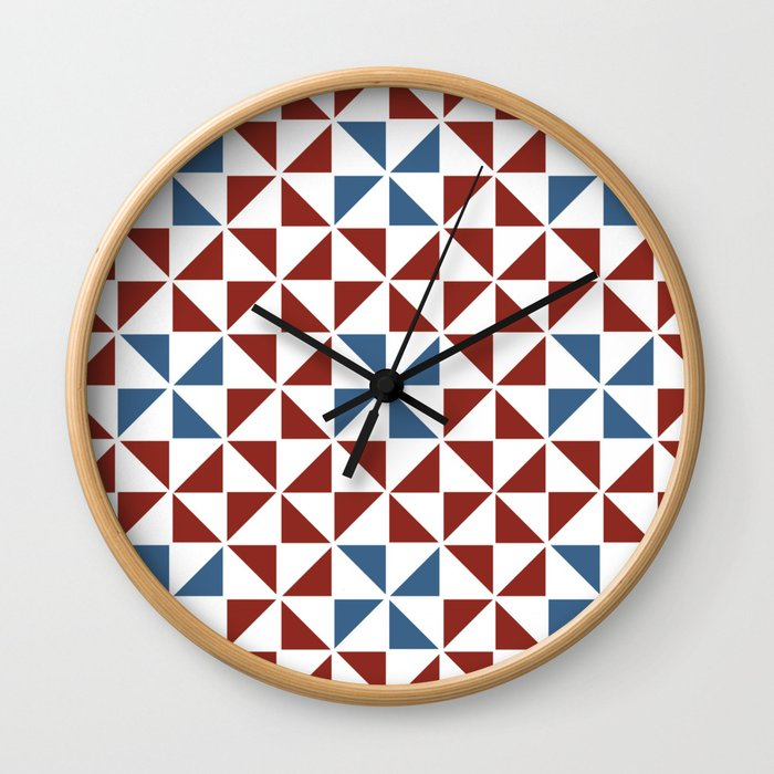 Pinwheel Quilt Pattern in Red and Blue Wall Clock