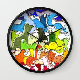 Rainbow Dinosaur Gradient Wall Clock