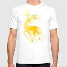 Dancing Deer  - Golden SMALL White Mens Fitted Tee