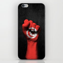 Tunisian Flag on a Raised Clenched Fist iPhone Skin