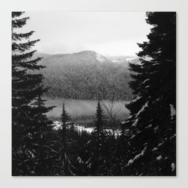 Snowy view along the Trail of Shadows. Canvas Print