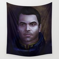 mass effect Wall Tapestries featuring Mass Effect: Kaidan Alenko by Ruthie Hammerschlag