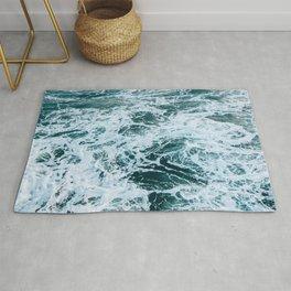 blue ocean tides Rug