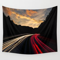 timelapse car red Wall Tapestry