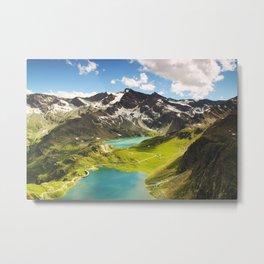 Italian Landscape Mountains and Lake Metal Print