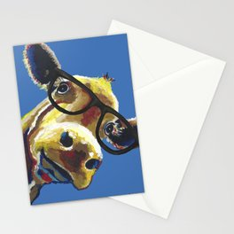 Cute Cow With Glasses, Up close Glasses Cow Stationery Cards