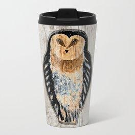 Primitive Owl Graphic Carved Wood Board Metal Travel Mug