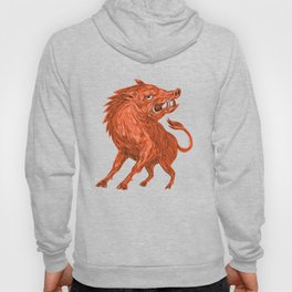 Angry Razorback Ready To Attack Drawing Hoody