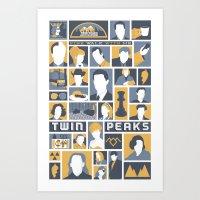 twin peaks Art Prints featuring Twin Peaks by Bill Pyle