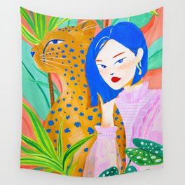 Short Hair Girl and Leopard in Garden Wall Tapestry