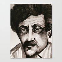 kurt vonnegut Canvas Prints featuring Kurt Vonnegut by lo defran